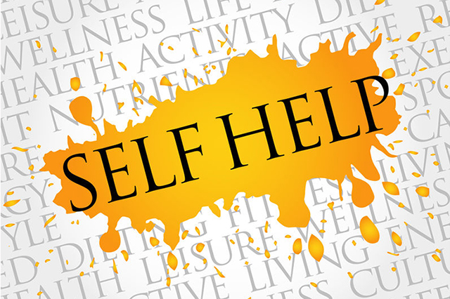 "Graphic with the words ""Self Help"" prominent."