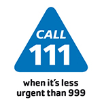Logo NHS 111 service. Call 111 when its less than 999.
